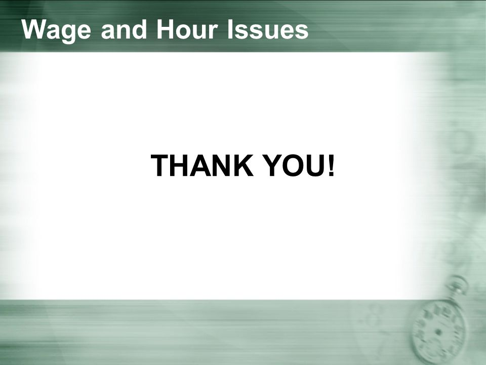 Wage and Hour Issues THANK YOU!