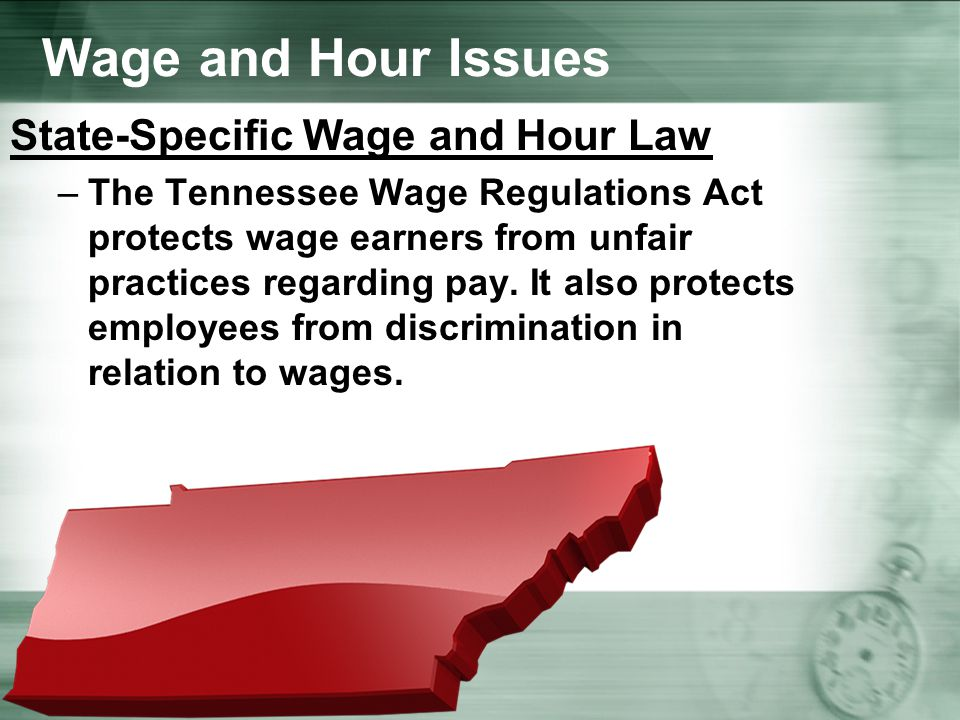Wage and Hour Issues State-Specific Wage and Hour Law –The Tennessee Wage Regulations Act protects wage earners from unfair practices regarding pay.