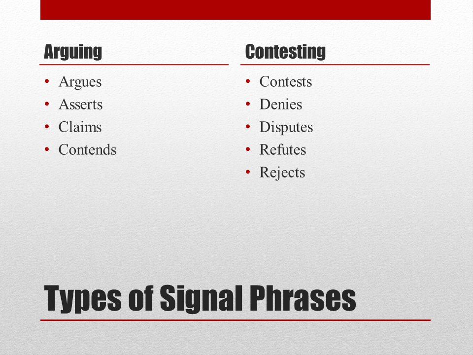 Types of Signal Phrases Arguing Argues Asserts Claims Contends Contesting Contests Denies Disputes Refutes Rejects