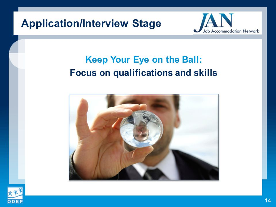 Keep Your Eye on the Ball: Focus on qualifications and skills 14 Application/Interview Stage