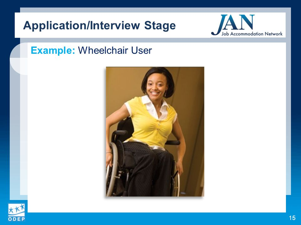Example: Wheelchair User Application/Interview Stage 15