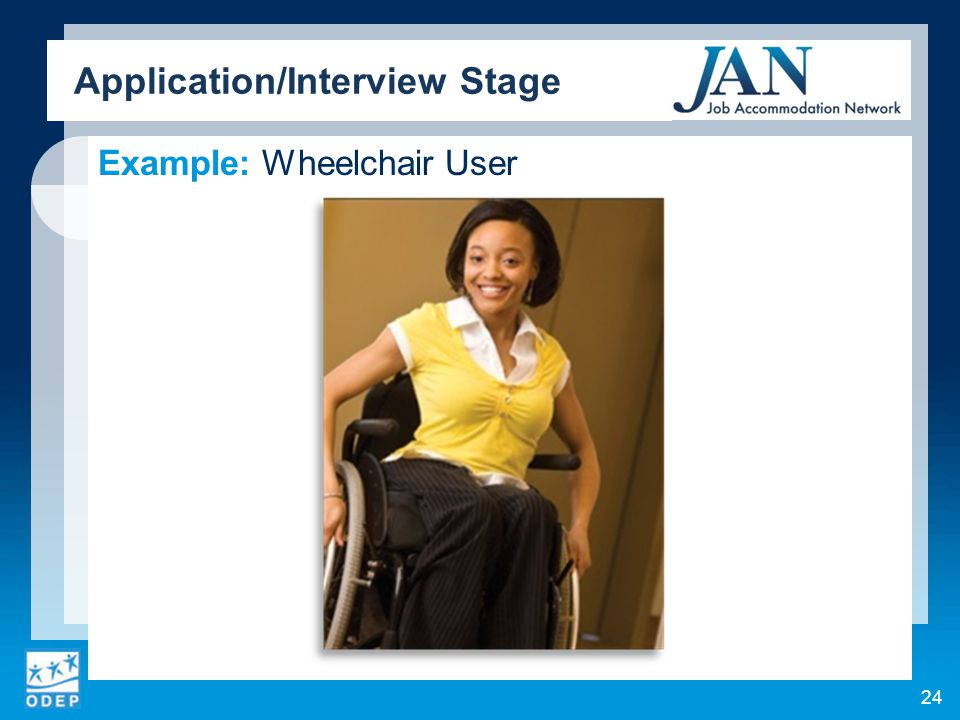 Example: Wheelchair User Application/Interview Stage 24