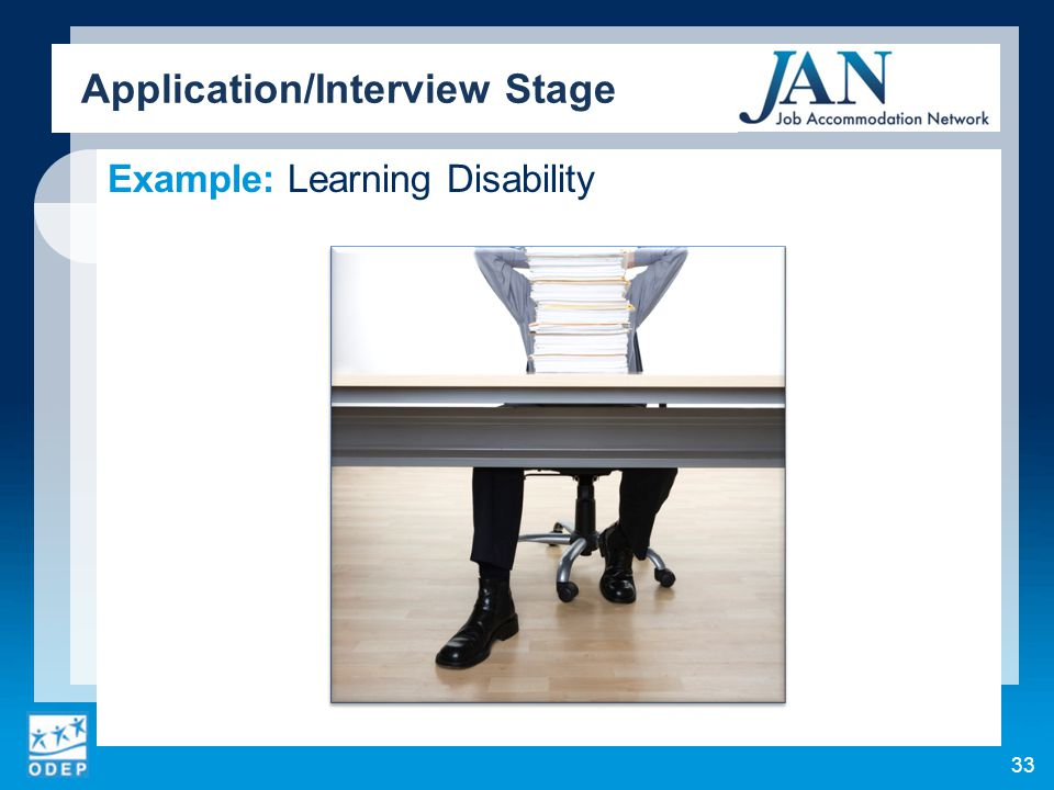 Example: Learning Disability Application/Interview Stage 33