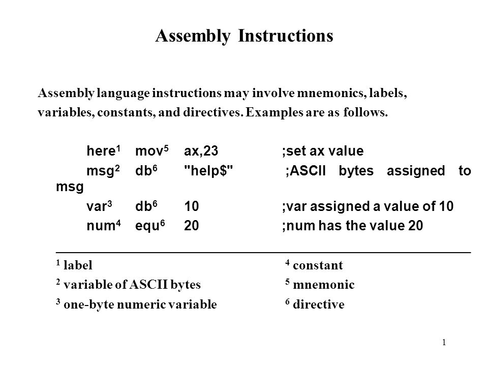 1 Assembly Instructions Assembly language instructions may