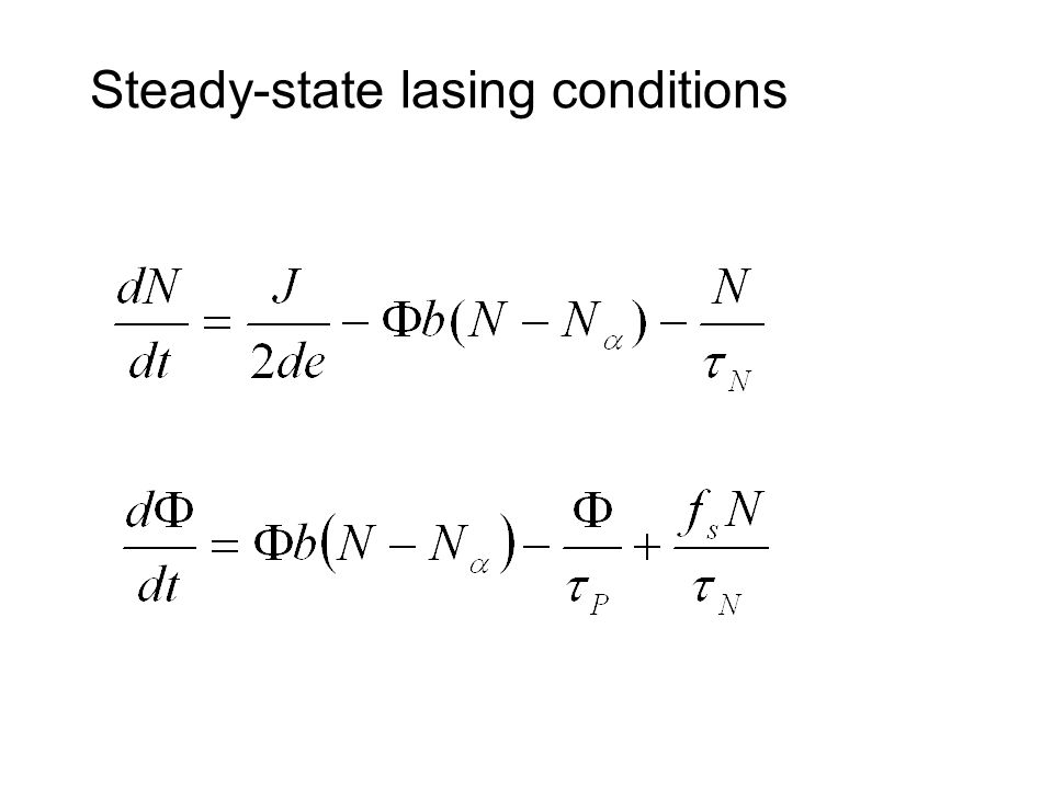 Steady-state lasing conditions