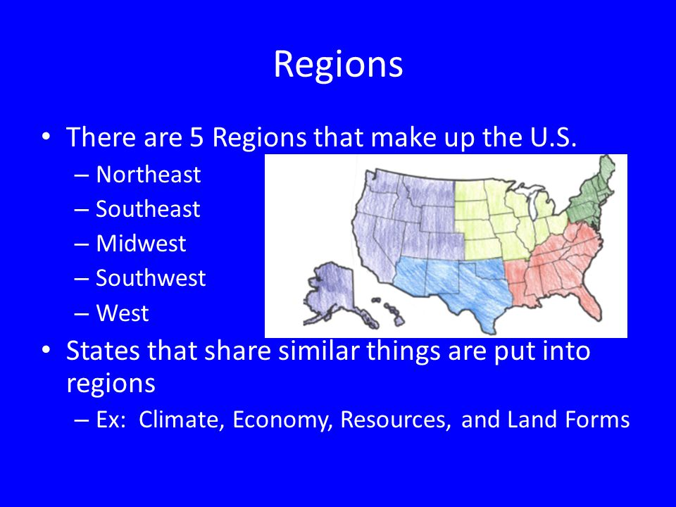 regions of the united states 2 regions there are 5