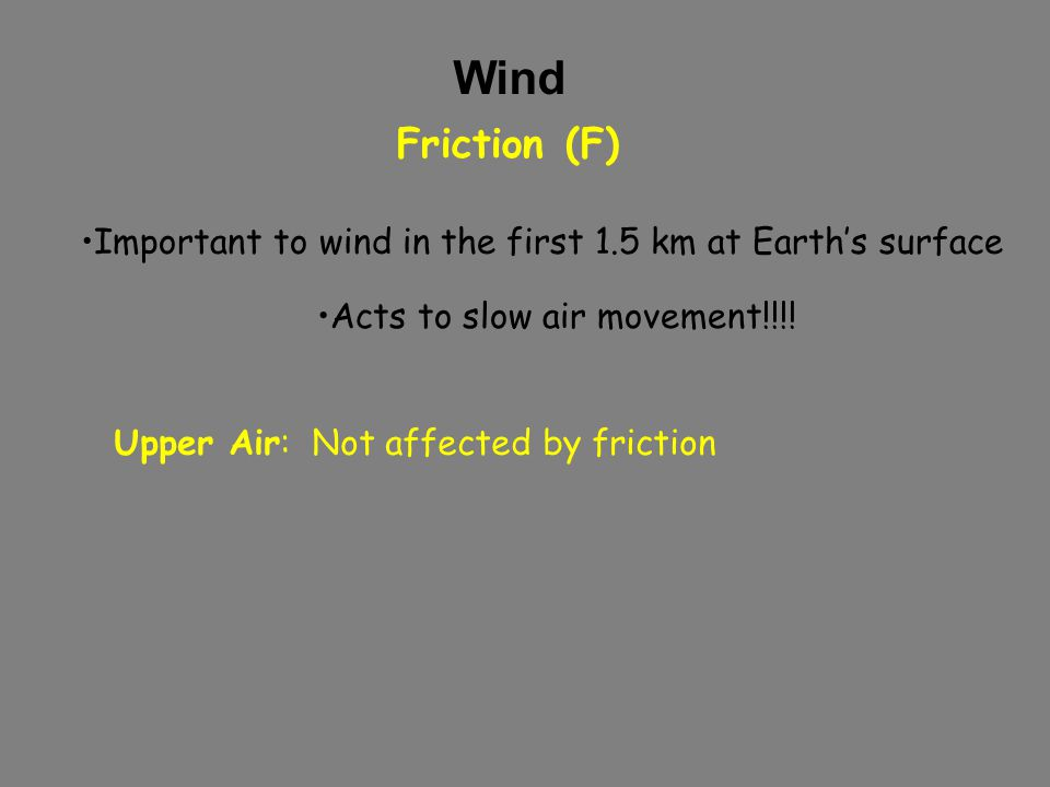 Wind Friction (F) Important to wind in the first 1.5 km at Earth's surface Acts to slow air movement!!!.