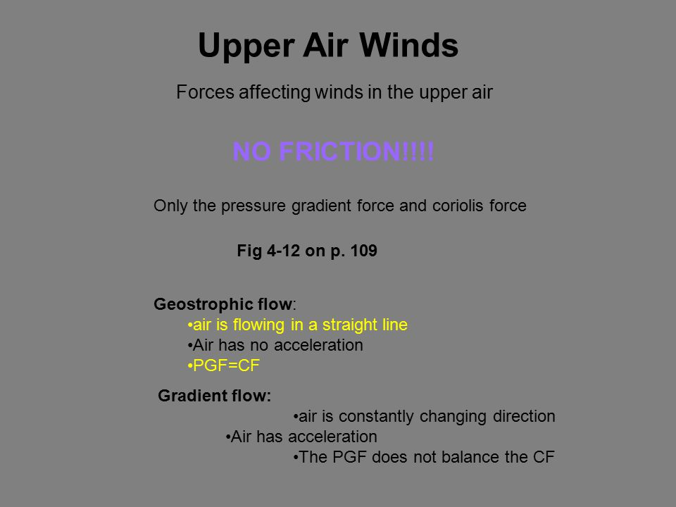Upper Air Winds Forces affecting winds in the upper air NO FRICTION!!!.