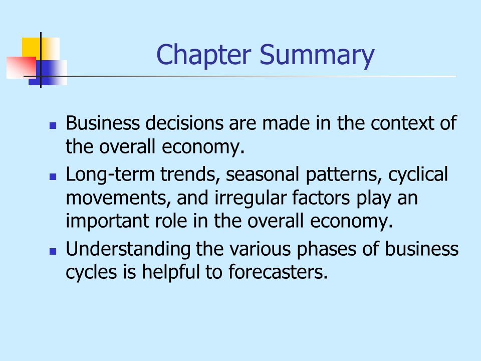 Chapter Summary Business decisions are made in the context of the overall economy.