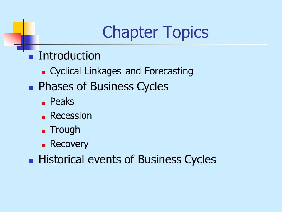 Chapter Topics Introduction Cyclical Linkages and Forecasting Phases of Business Cycles Peaks Recession Trough Recovery Historical events of Business Cycles
