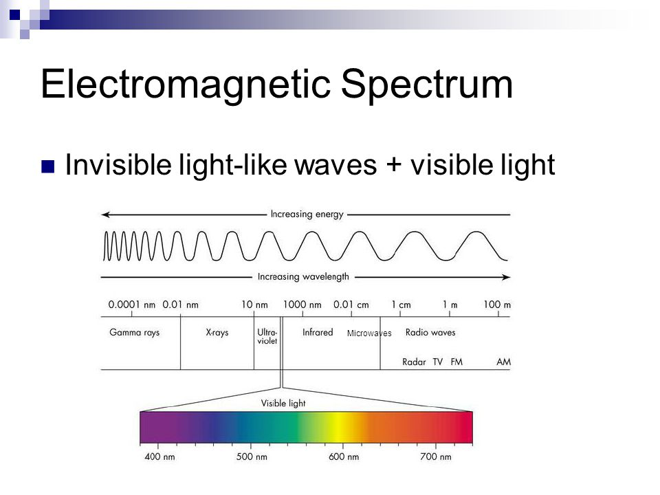 Electromagnetic Spectrum Invisible light-like waves + visible light Microwaves
