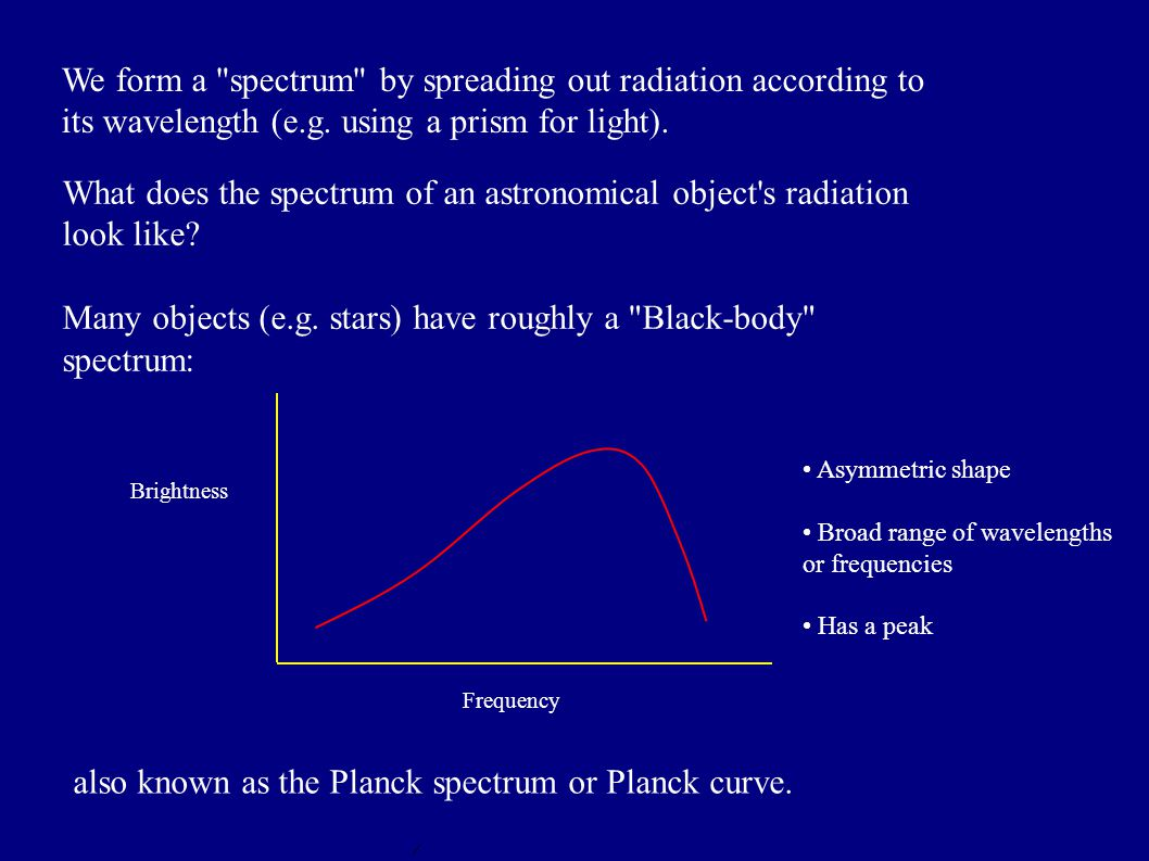 We form a spectrum by spreading out radiation according to its wavelength (e.g.