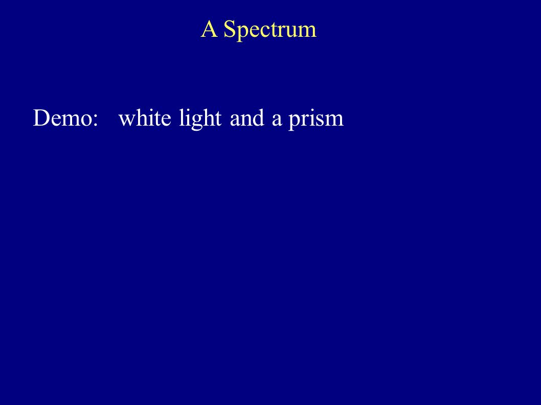 Demo: white light and a prism A Spectrum