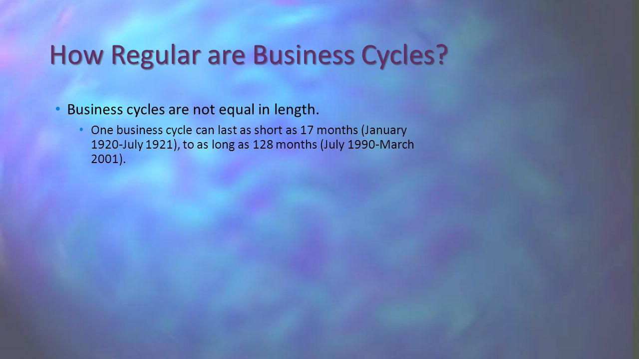 How Regular are Business Cycles. Business cycles are not equal in length.