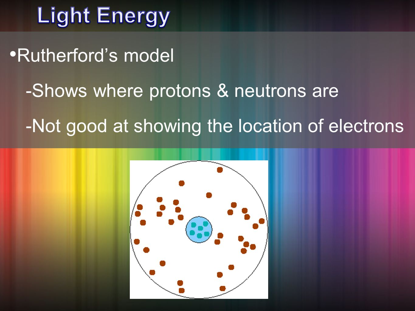 Rutherford's model -Shows where protons & neutrons are -Not good at showing the location of electrons