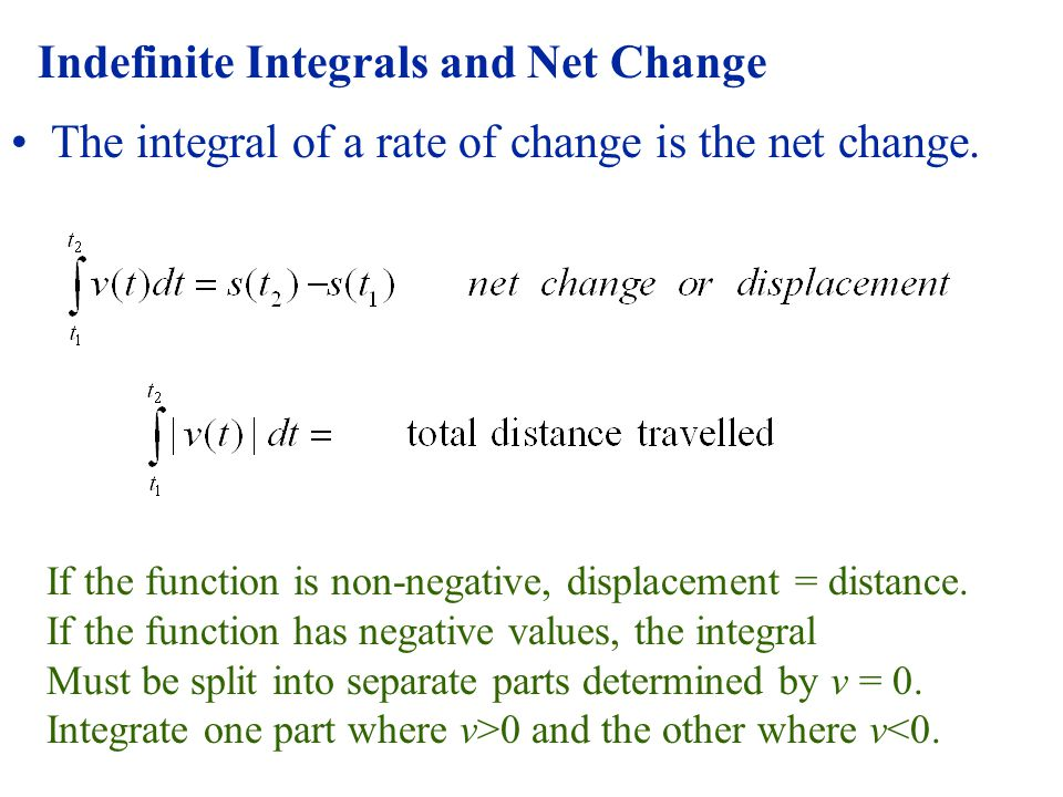 Indefinite Integrals and Net Change The integral of a rate of change is the net change.