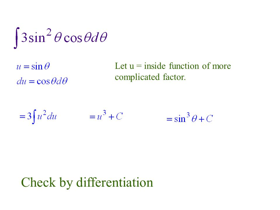 Let u = inside function of more complicated factor. Check by differentiation