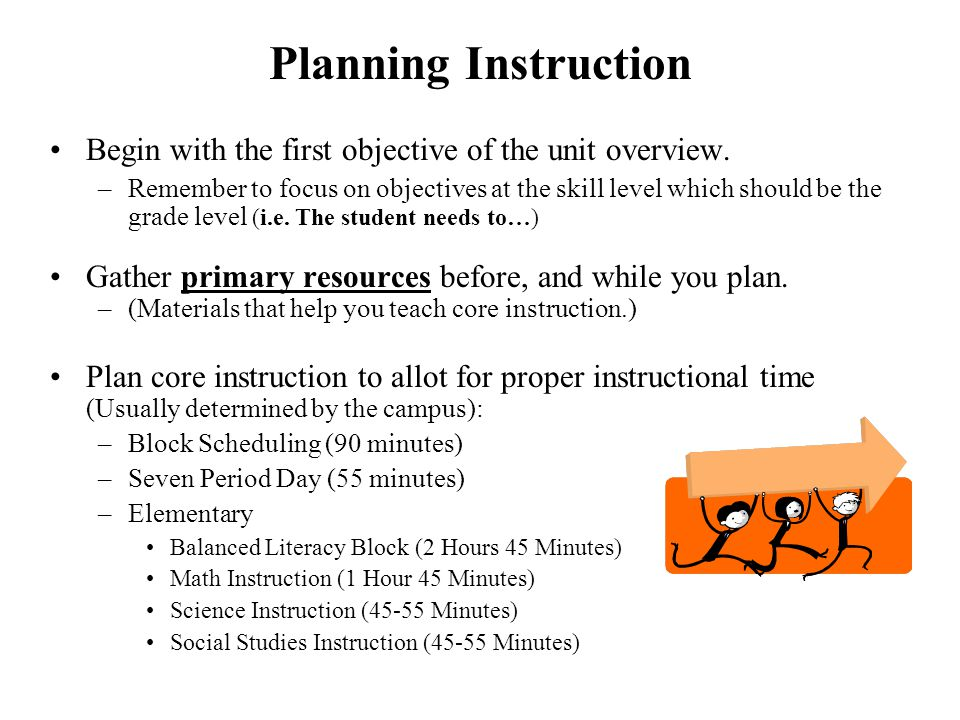Planning Instruction Begin with the first objective of the unit overview.