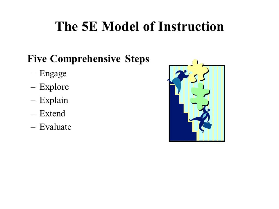 The 5E Model of Instruction Five Comprehensive Steps –Engage –Explore –Explain –Extend –Evaluate