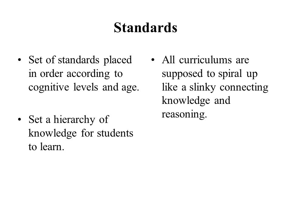 Standards Set of standards placed in order according to cognitive levels and age.