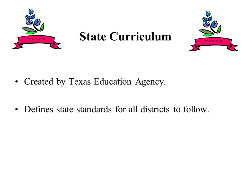 State Curriculum Created by Texas Education Agency.