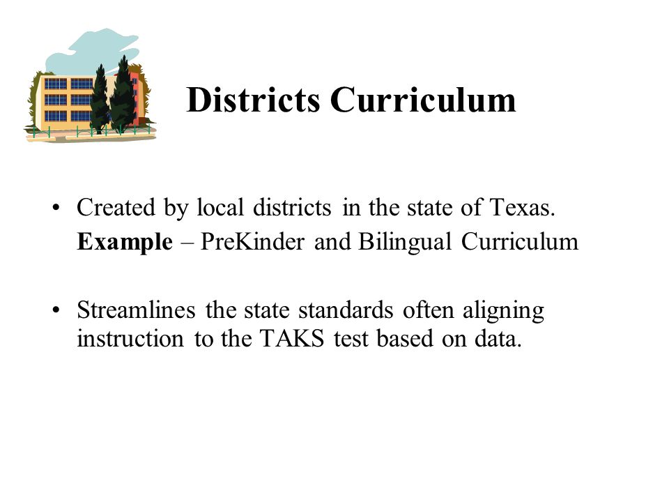 Districts Curriculum Created by local districts in the state of Texas.