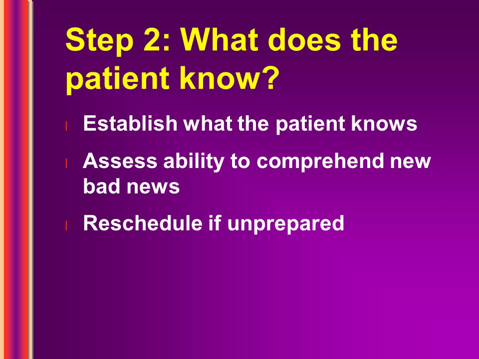 Step 2: What does the patient know.