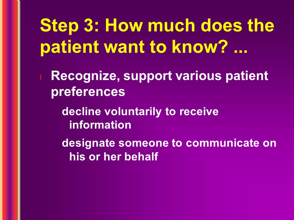 Step 3: How much does the patient want to know ...