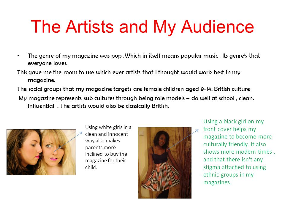 The Artists and My Audience The genre of my magazine was pop.Which in itself means popular music.