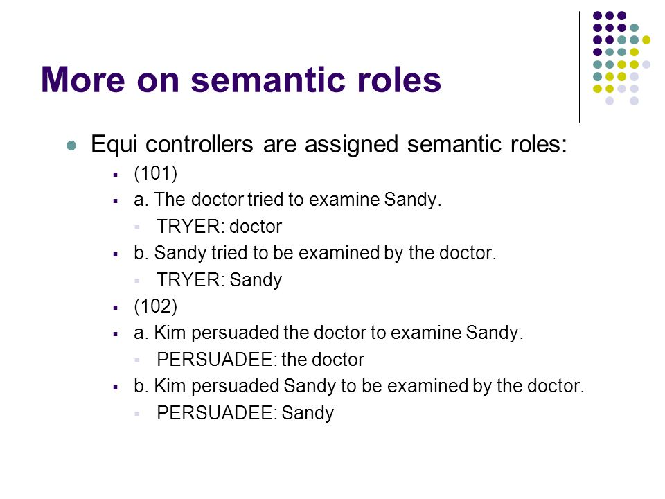 More on semantic roles Equi controllers are assigned semantic roles:  (101)  a.