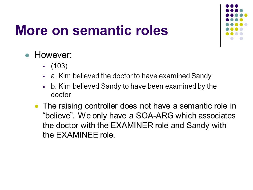 More on semantic roles However:  (103)  a. Kim believed the doctor to have examined Sandy  b.