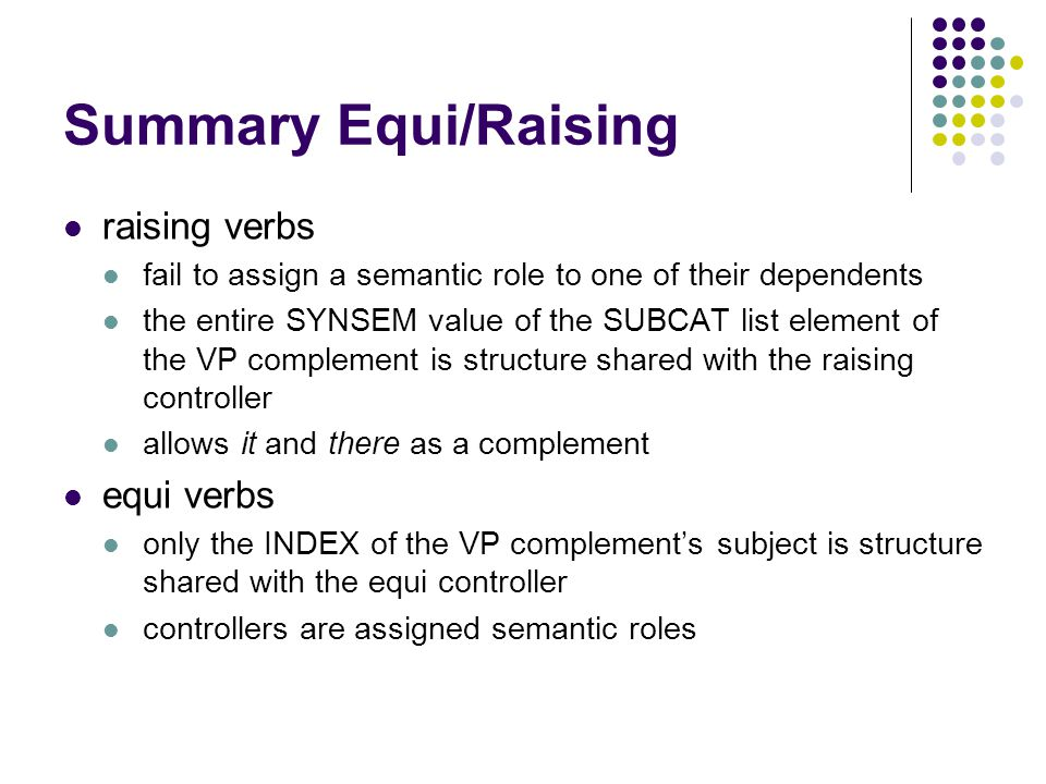 Summary Equi/Raising raising verbs fail to assign a semantic role to one of their dependents the entire SYNSEM value of the SUBCAT list element of the VP complement is structure shared with the raising controller allows it and there as a complement equi verbs only the INDEX of the VP complement's subject is structure shared with the equi controller controllers are assigned semantic roles