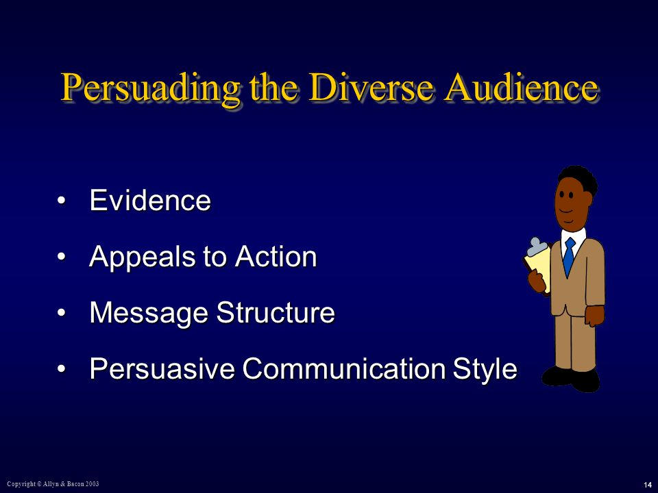Copyright © Allyn & Bacon Persuading the Diverse Audience EvidenceEvidence Appeals to ActionAppeals to Action Message StructureMessage Structure Persuasive Communication StylePersuasive Communication Style