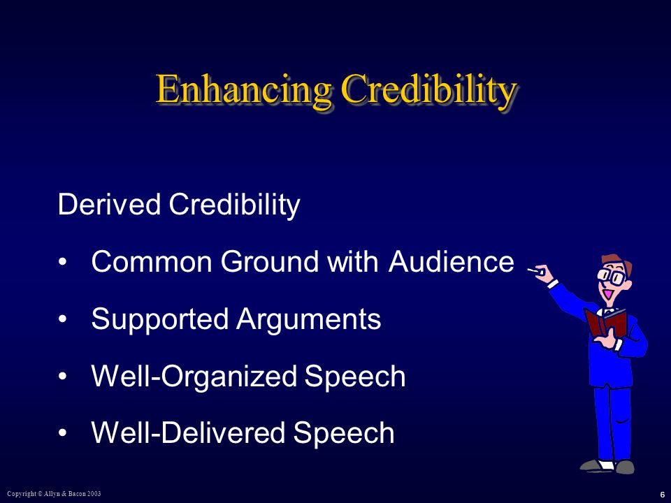 Copyright © Allyn & Bacon Enhancing Credibility Derived Credibility Common Ground with Audience Supported Arguments Well-Organized Speech Well-Delivered Speech
