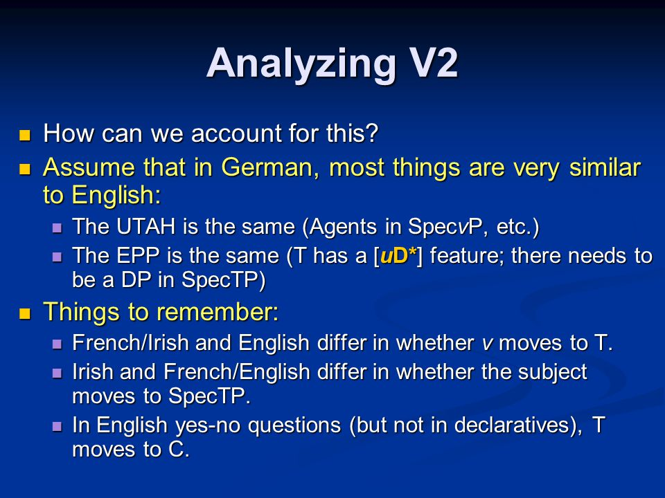 Analyzing V2 How can we account for this. How can we account for this.