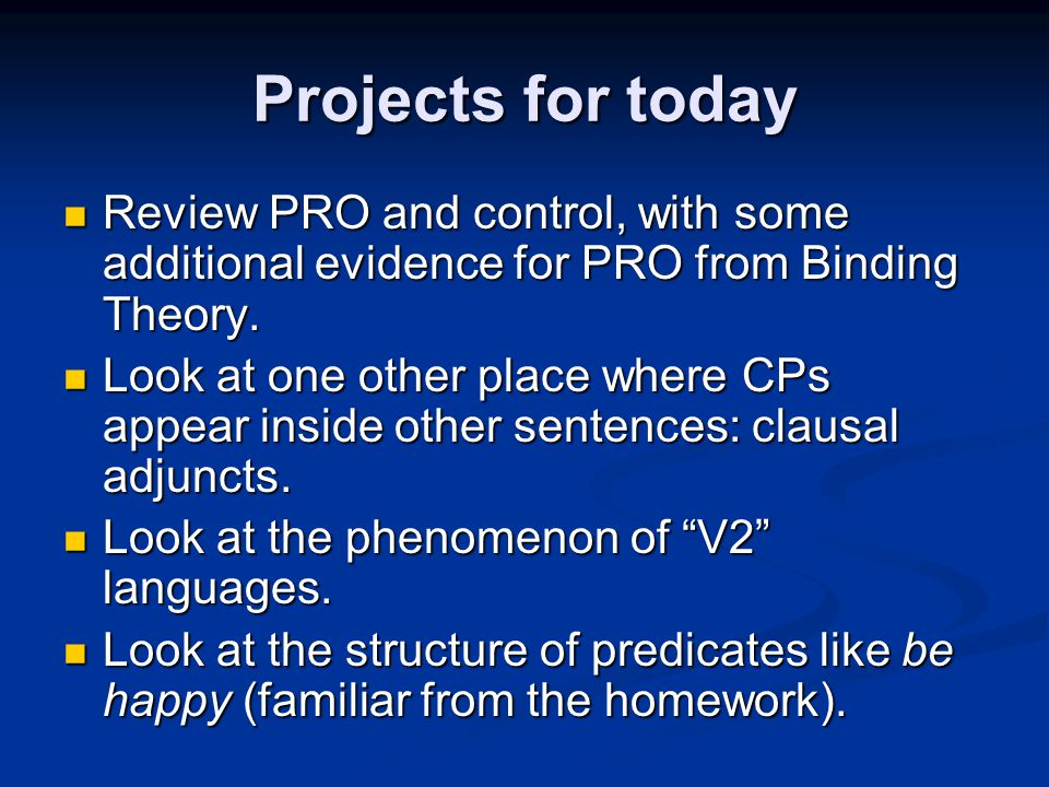 Projects for today Review PRO and control, with some additional evidence for PRO from Binding Theory.