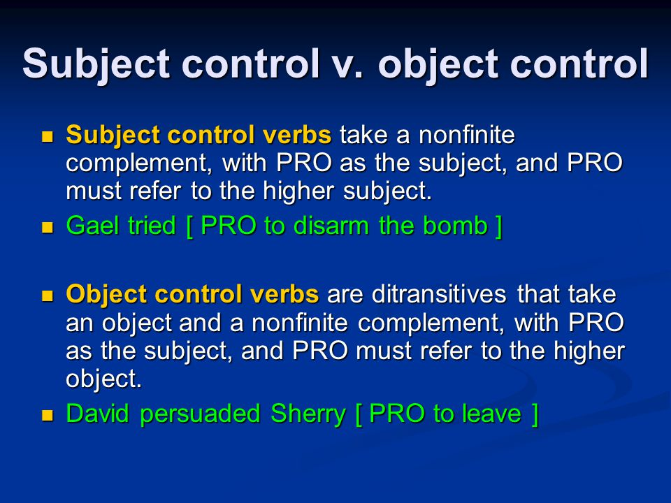Subject control v.