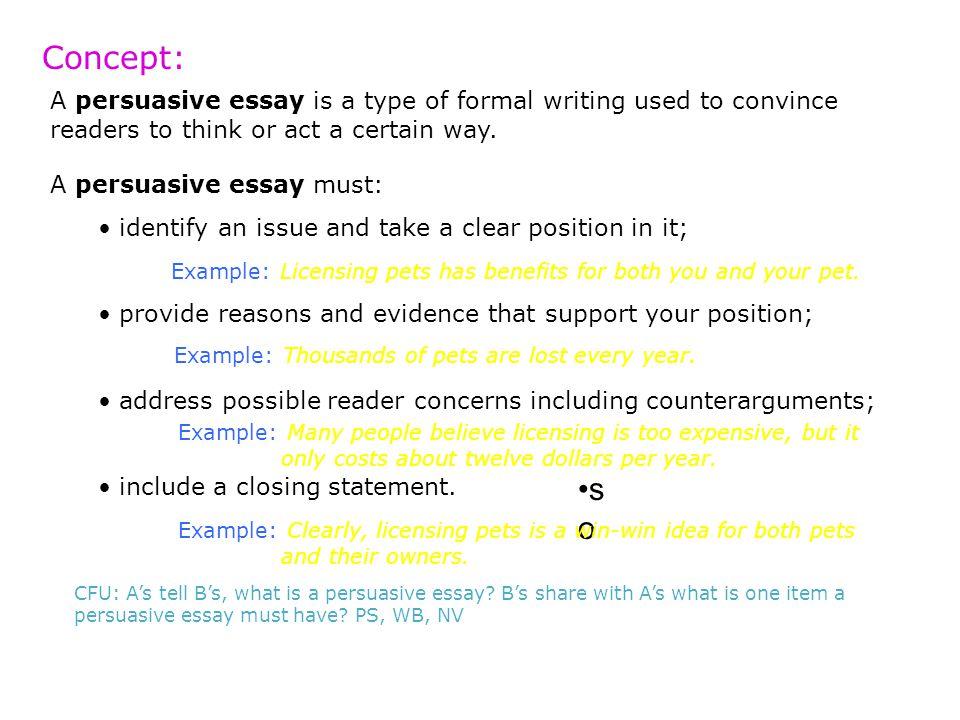 Persuasive essay objectives