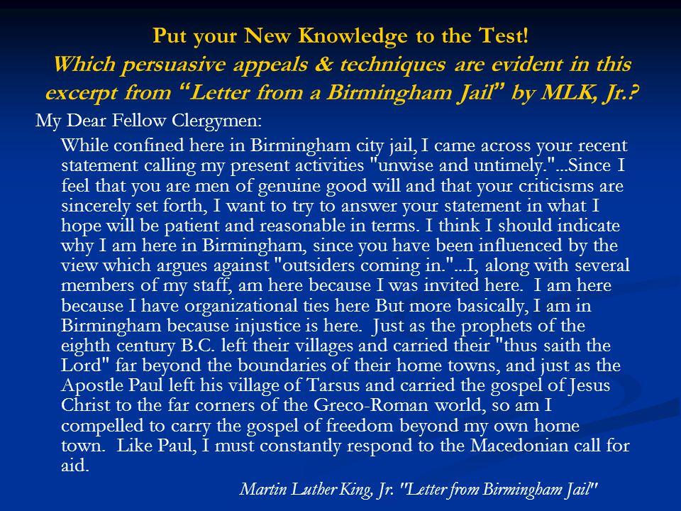 letter from birmingham jail persuasive techniques