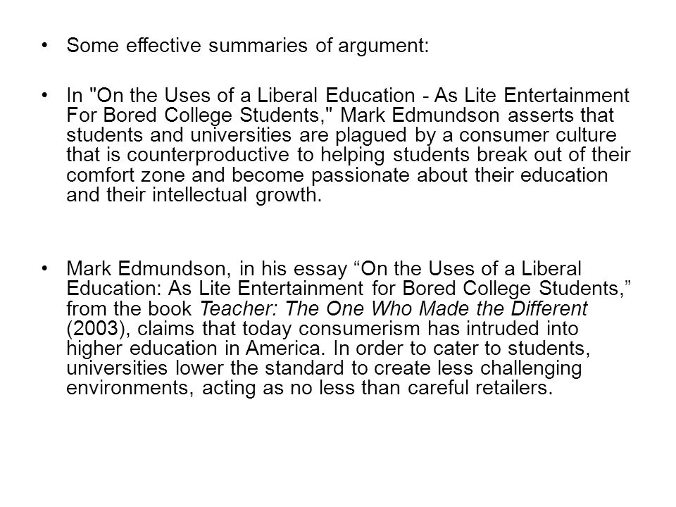 mark edmundson essay on the uses of a liberal education