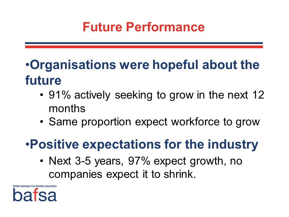 Future Performance Organisations were hopeful about the future 91% actively seeking to grow in the next 12 months Same proportion expect workforce to grow Positive expectations for the industry Next 3-5 years, 97% expect growth, no companies expect it to shrink.