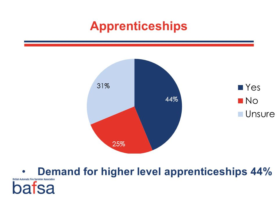 Apprenticeships Only 28% offered adult employees apprenticeships Main reasons to persuade organisations to offer apprenticeships: Financial assistance (35%) 61% would use apprentices if they had the right kinds of external support Demand for higher level apprenticeships 44%