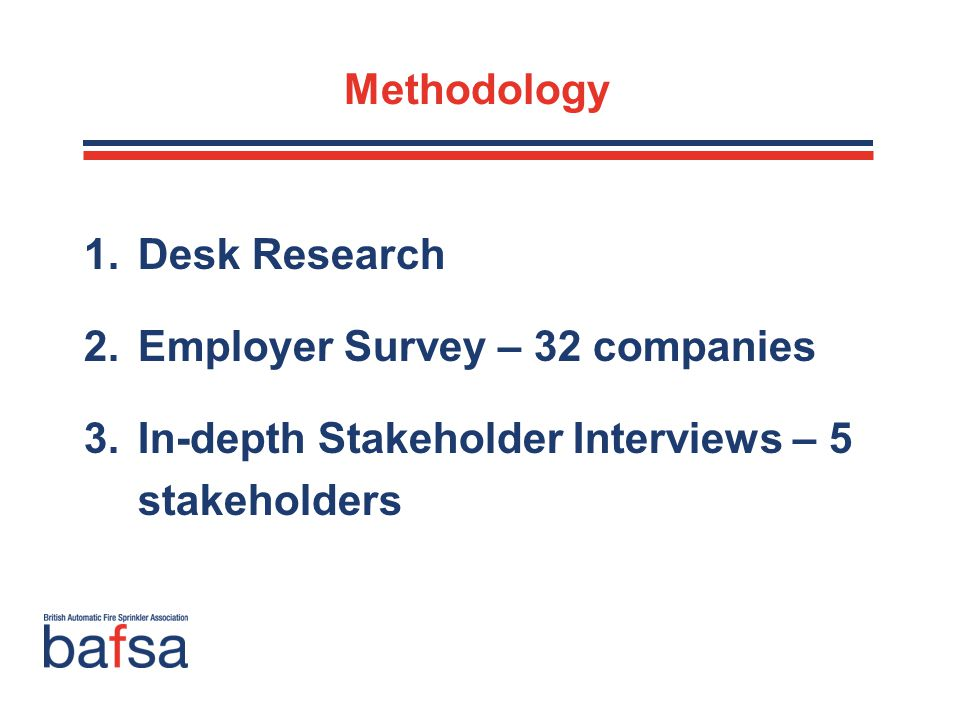 Methodology 1.Desk Research 2.Employer Survey – 32 companies 3.In-depth Stakeholder Interviews – 5 stakeholders