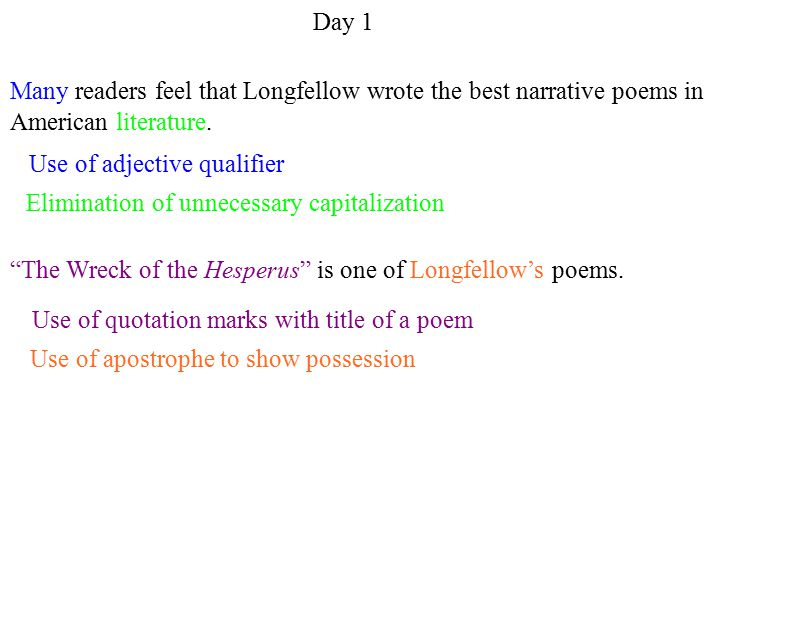 Use of apostrophe to show possession Use of adjective qualifier Elimination of unnecessary capitalization Use of quotation marks with title of a poem Day 1 Many readers feel that Longfellow wrote the best narrative poems in American literature.
