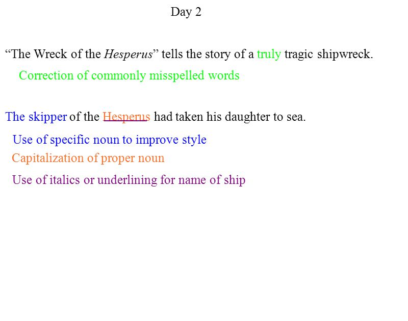 Day 2 The Wreck of the Hesperus tells the story of a truly tragic shipwreck.