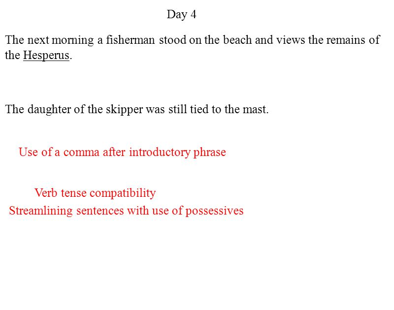 Use of a comma after introductory phrase The next morning a fisherman stood on the beach and views the remains of the Hesperus.