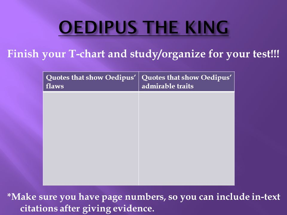 OEDIPUS THE KING Finish your T-chart and study/organize for your test!!.