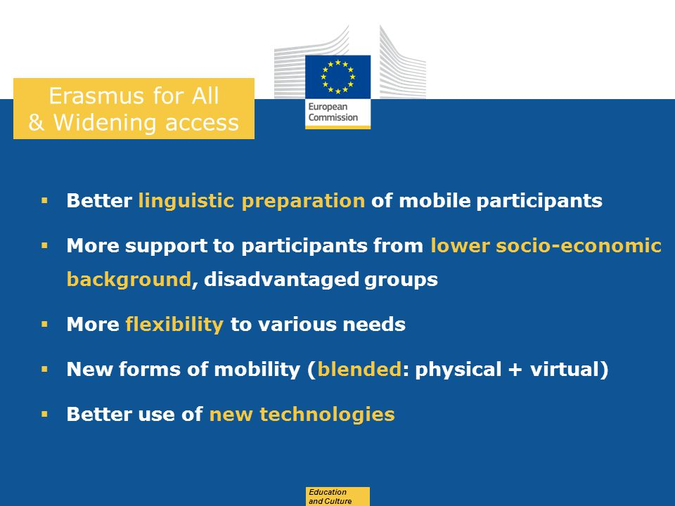 Date: in 12 pts Education and Culture Erasmus for All & Widening access  Better linguistic preparation of mobile participants  More support to participants from lower socio-economic background, disadvantaged groups  More flexibility to various needs  New forms of mobility (blended: physical + virtual)  Better use of new technologies