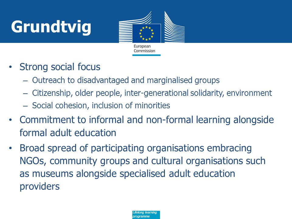 Date: in 12 pts Lifelong learning programme Grundtvig Strong social focus – Outreach to disadvantaged and marginalised groups – Citizenship, older people, inter-generational solidarity, environment – Social cohesion, inclusion of minorities Commitment to informal and non-formal learning alongside formal adult education Broad spread of participating organisations embracing NGOs, community groups and cultural organisations such as museums alongside specialised adult education providers