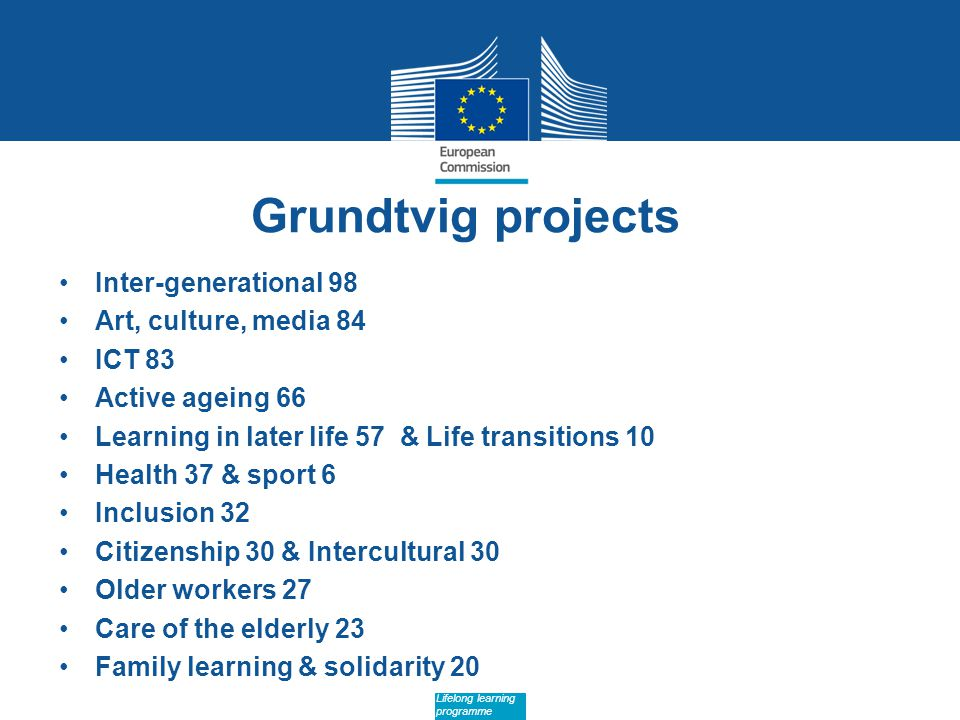 Date: in 12 pts Lifelong learning programme Grundtvig projects Inter-generational 98 Art, culture, media 84 ICT 83 Active ageing 66 Learning in later life 57 & Life transitions 10 Health 37 & sport 6 Inclusion 32 Citizenship 30 & Intercultural 30 Older workers 27 Care of the elderly 23 Family learning & solidarity 20